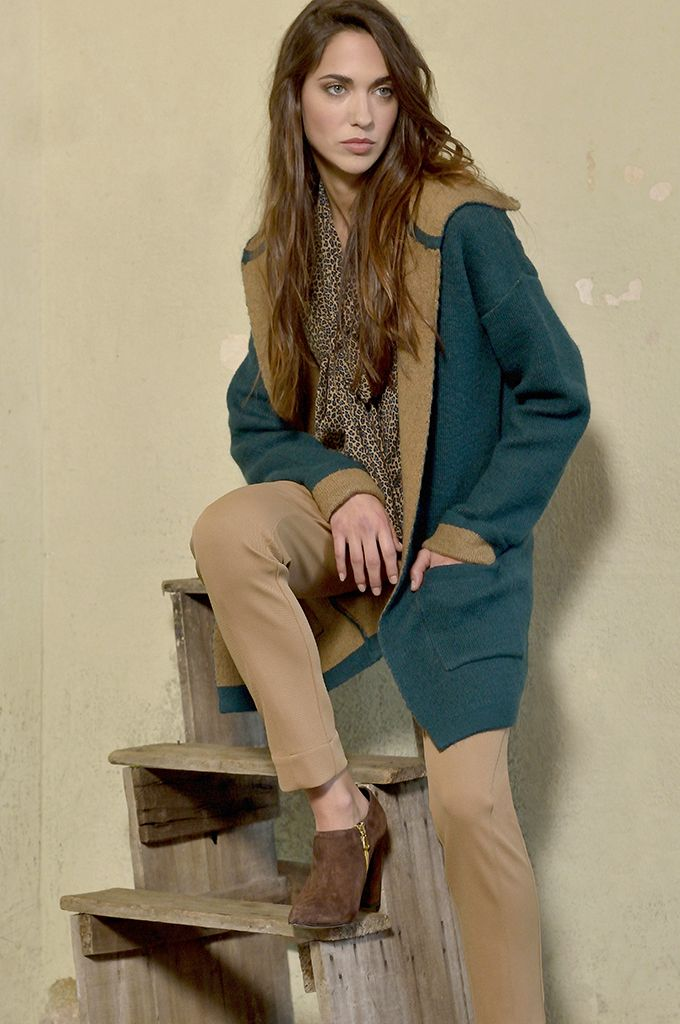 Sarah Lawrence - double face knitted cardigan with hood, tie-front animal print long sleeve shirt, cropped city pant.