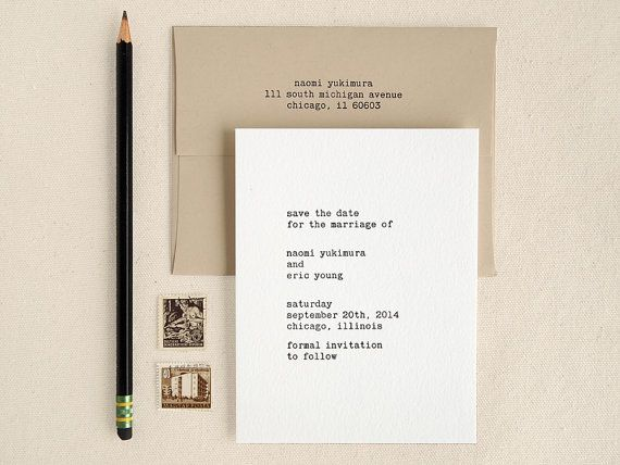 Typewriter Save the Dates - Letterpress Printed - Modern and Minimal (25). $180.00, via Etsy.