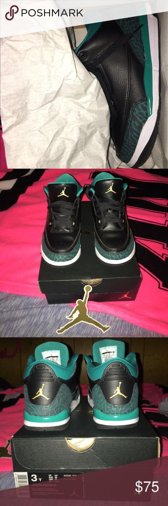 Nib~ Jordan Retro GP 3Y Nib~ Jordan Retro 3 GP 3Youth. Hot Sneaks with Black/Metallic Gold~Rio Teal! Jordan Shoes Sneakers