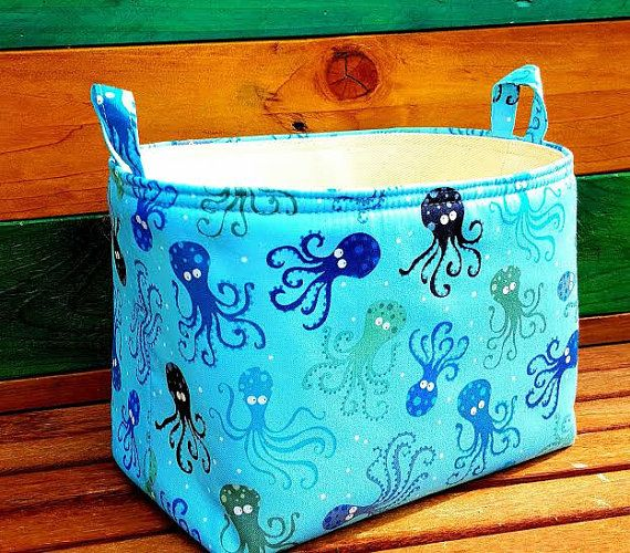 OCTOPUS KIDS BASKET Blue Organic Cotton by VintageFromChris