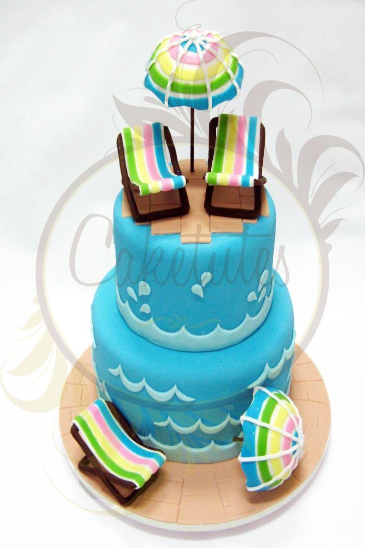 Pool Party Cake - Caketutes Cake Designer: Bolo festa na piscina                                                                                                                                                                                 Mais