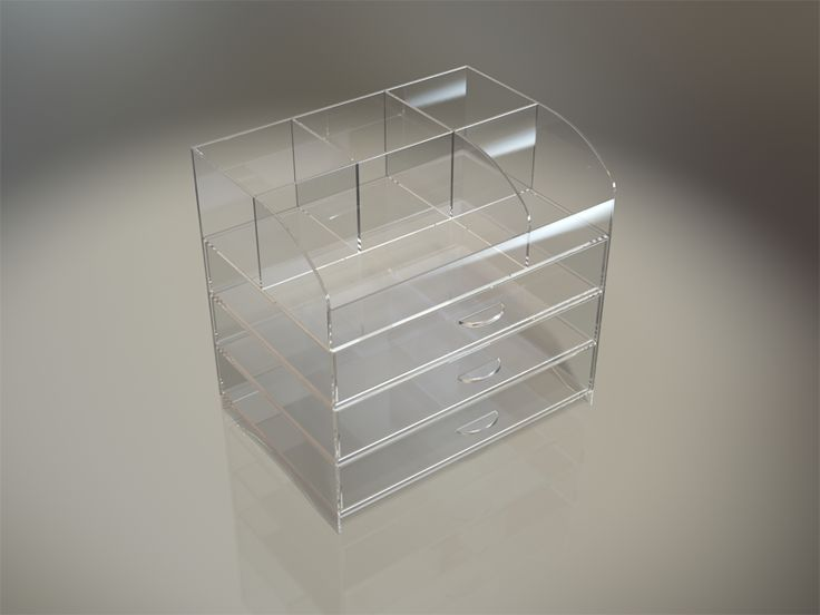 This counter top standing storage organizer is manufactured in high quality clear Plexiglas acrylic. This style organizer has an open top storage area with multiple divisions allowing for large and small items to be stored. The unit is designed with three pull out storage drawers each drawer included two lose fitting slide inserts for your own personal storage layout.