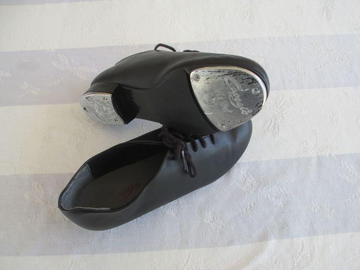"Zapatos de claqué (tap) o de flamenco Capezio TeleTone de 9½"" (24.1cm; 6.5 USA; 6 GB; 39 Euro) casi nuevos / Black Capezio TeleTone tap shoes size 6.5 USA, 6 UK ~ Capezio TeleTone extreme tap or flamenco shoes"