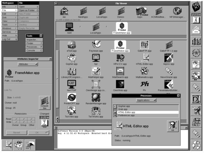 Steve Jobs' 1988 NeXT GUI featuring 3D windows and icons | The Short History of GUI - Microsoft vs Apple