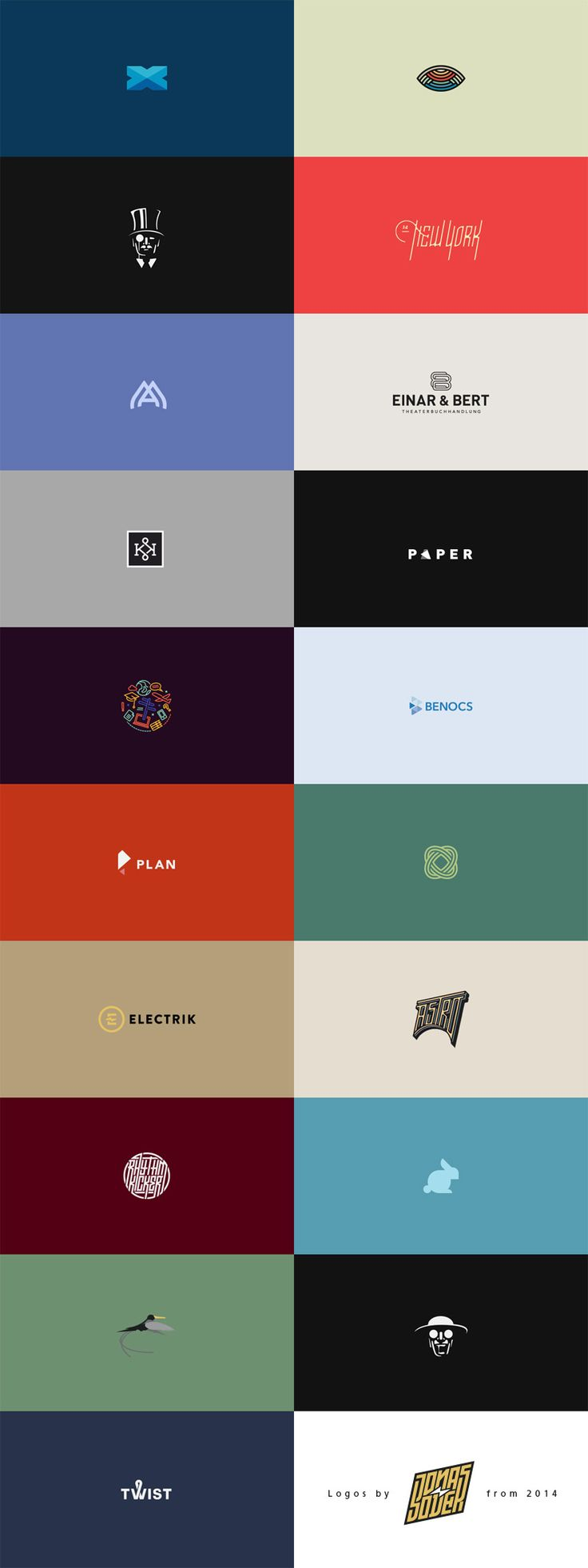 A fine selection of logos from 2014 by Jonas Söder, a Berlin, Germany based freelance graphic designer. Some weeks ago I featured a collection of simple bl