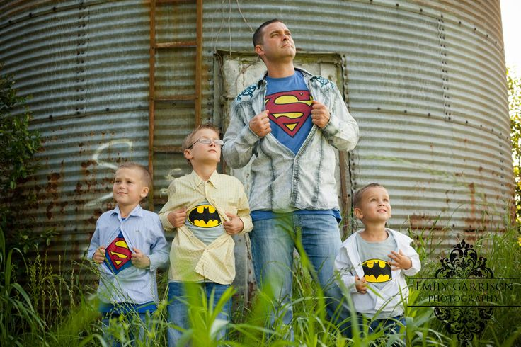 Great Father/Sons picture, or for the cousins, girl have princess underneath, boys w. superheroes