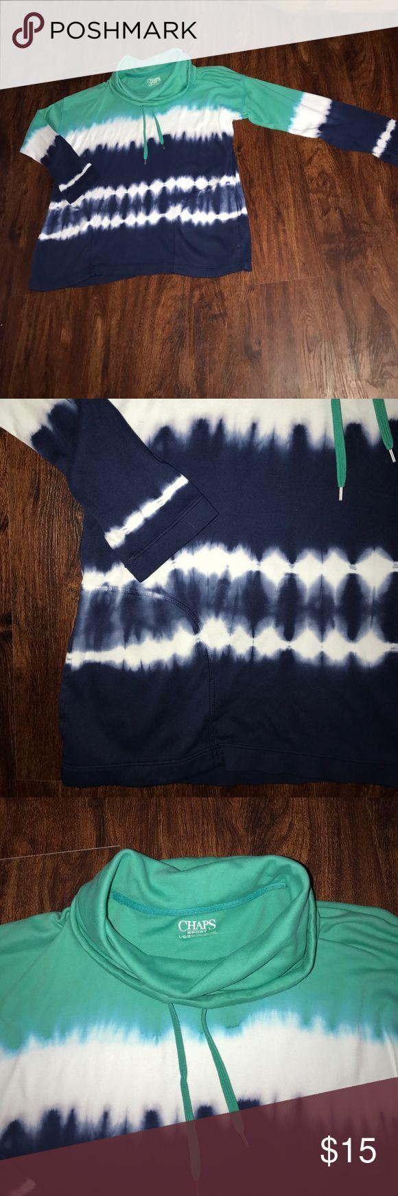 NWOT Tie-Dye Chaps Sport  cowl neck sweatshirt! Chaps Sport cowl neck sweatshirt! Pretty blue, aqua and white Tie-Dye pattern! Has 2 pockets! Super soft 100% Cotton! Never been worn! Women's size Large Chaps Tops Sweatshirts & Hoodies