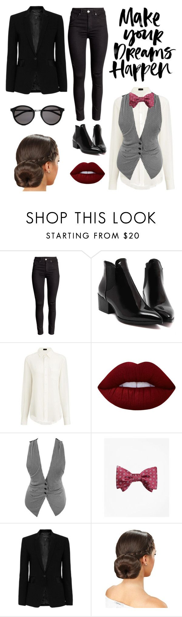 """Slick bowtie work outfit"" by shop-styleloft on Polyvore featuring Joseph, Lime Crime, Brooks Brothers, rag & bone and Yves Saint Laurent"