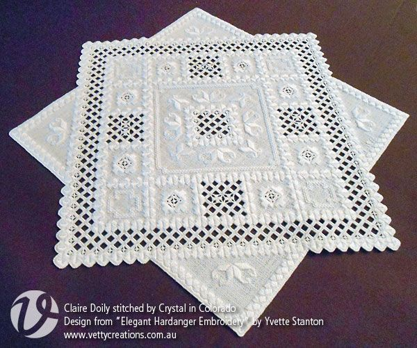 "Claire Doily from ""Elegant Hardanger Embroidery"" by Yvette Stanton. Stitched by Crystal in Colorado."