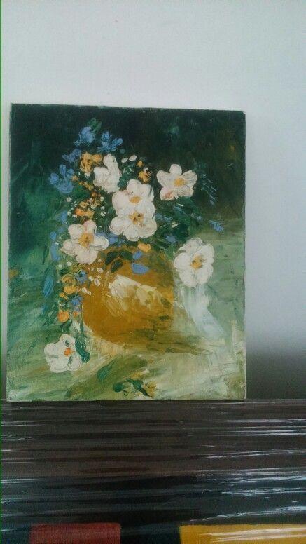 Flores, cuadto en oleo, trabajado con espátula