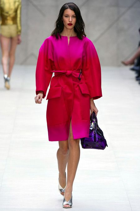Burberry Prorsum Spring 2013. Pink and Red Ombre Trench Coat.