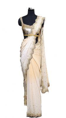 Coral Beige Saree | Strandofsilk.com - Indian Designers  #strandofsilk #indianfashion indianwedding #indianbride