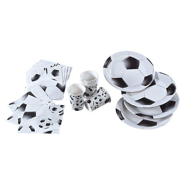 Sommerzeit - Fußballzeit!<br /> Endlich wird wieder ordentlich gekickt. <br /> <br /> In der Pause kann dann ordentlich von Partygeschirr geschlemmt werden.<br /> <br /> Das Partyset ist auch ein passende Dekoration für den Kindergeburtstag von Fußballfans.<br /> <br /> Inhalt:<br /> 8x Pappteller (Durchmesser: 23 cm)<br /> 8x Pappbecher (0,2l)<br /> 20x Servietten (33x33 cm, 3-lagig)...