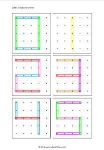 Geobordfiguren voor kleuters. Met leuke gekleurde elastiekjes vormen, cijfers of letters na laten maken. Goed voor de fijne motoriek!