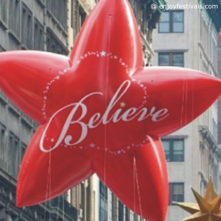 Red Believe Stars Novelty Balloon - Macy's Thanksgiving Parade 2016
