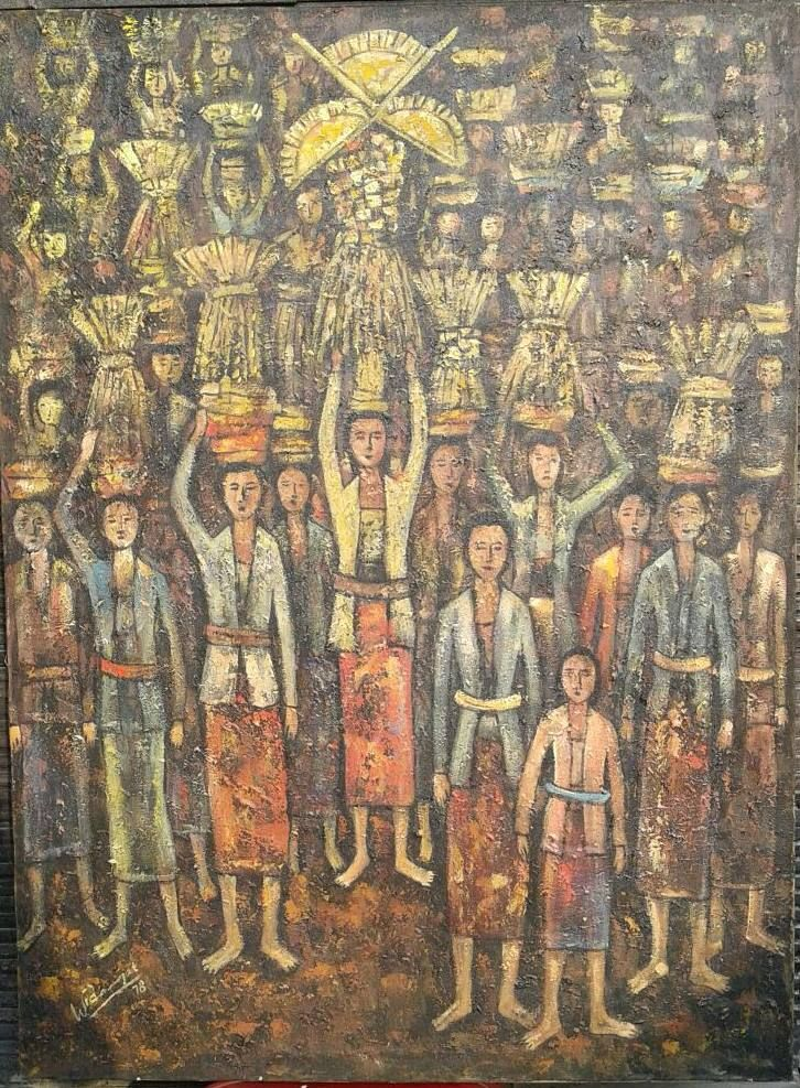 For sale   Ceremony to clean the village , oil on canvas, 97 x 122 cm
