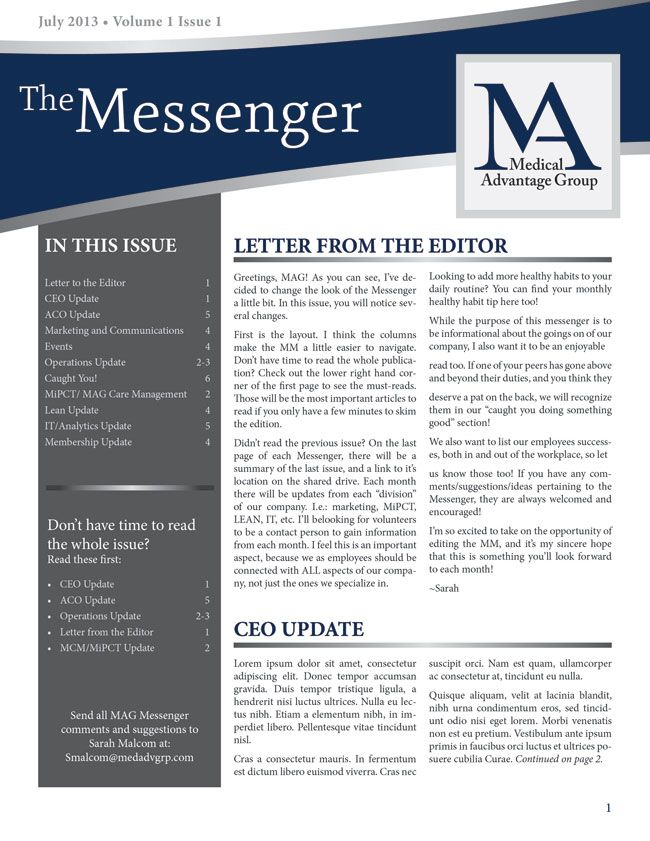 Like The Curved Header And TOC Down The Side | Business Newsletter Design    Molly Mason