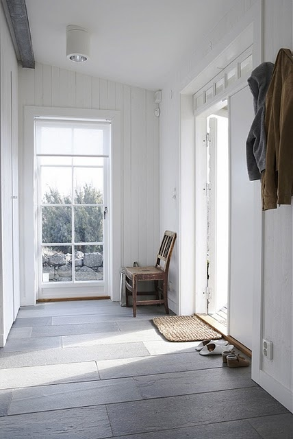 simple...slate floor tiles a knock out with white walls and lots of light