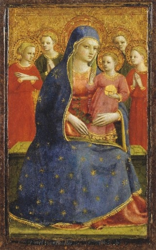 Beato Angelico, Madonna con il Bambino e gli Angeli, 1425-1430     tempera e oro su tavola, cm 16,2 x 9,7   Detroit Institute of Arts   Acquisto della Founders Society, Ralph Harman Booth Bequest Fund