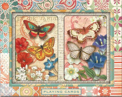 """Punch Studio Playing Cards Set """"Rustic Butterfly"""" New With All Tags (2 decks)"""
