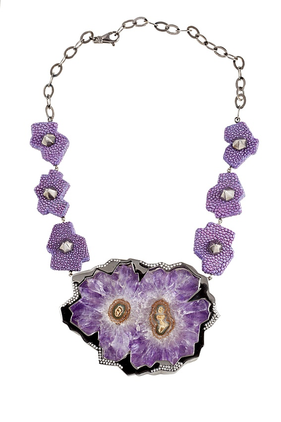 "Giuliana Mancinelli Bonafaccia - Purple galuchat leather necklace, silver dipped in black ruthenium, diamonds and amethyst ""flower""."