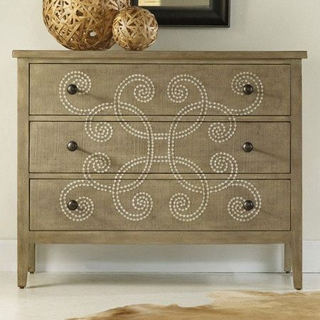 I love this site. Its products give me a lot of DIY ideas. For instance, I recreated this dresser (on a smaller scale) with a stencil and 99 cent acrylic paint!