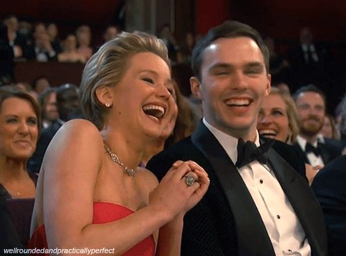 When Nicholas Hoult looked at her adorably and our heart grew a thousand sizes. | Jennifer Lawrence's 19 Best Moments At The Oscars