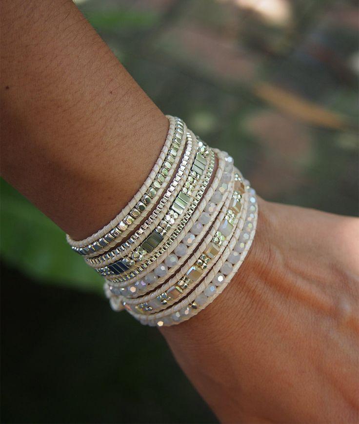 5 times Wrap Bracelet White Crystal beaded mix Boho by G2Fdesign