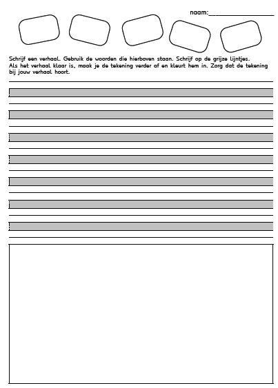 werkblad voor het schrijven van een verhaal groep 3-4 en te downloaden pdf pagina's met verschillende liniering!