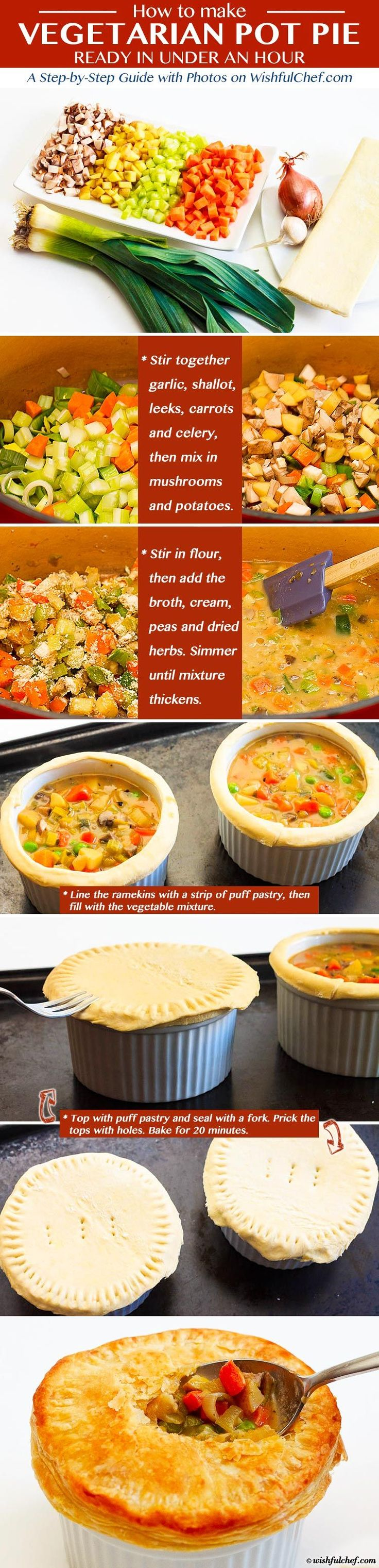 Vegetarian Pot Pie Recipe - Ready in Under an Hour // wishfulchef.com #Healthy #Vegetarian,