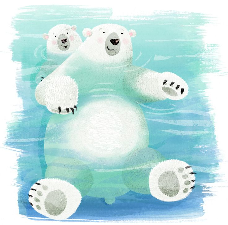 Polar bear mum and kid having a refreshing cool swim. Our submission for the weekly colour collective on twitter.