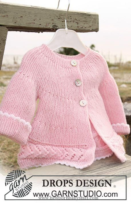 Baby Knitting Patterns DROPS jacket knitted from side to side in garter st and lace...