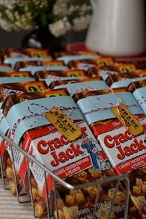 Cracker Jack favors idea - love the aged ticket!!!