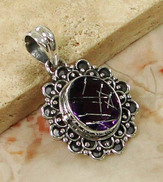 Solid 925 Sterling Silver Lab Rutile Gemstone Pendant Jewelry 32mm
