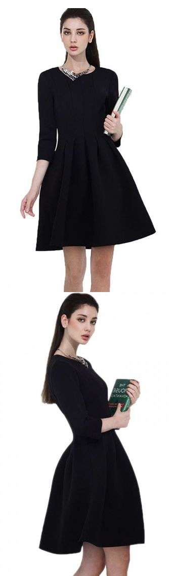 Long sleeve dress black in fall.U can wear it casually.See more on Choies.com.