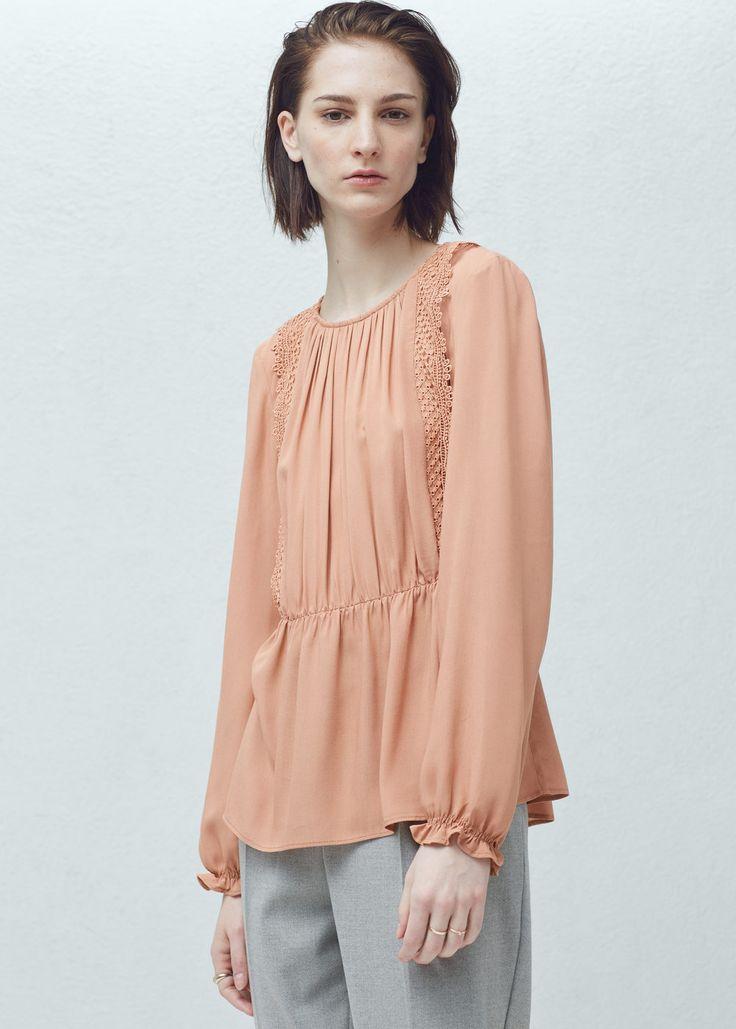 Bluse med heklepanel - Skjorter for Damer | MANGO Norge