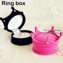 Caja del anillo de la joyería de la corona boda del anillo de la caja contenedor de almacenamiento baratija Pink Casket chica decoración del favor navidad TB8717 regalo(China (Mainland))
