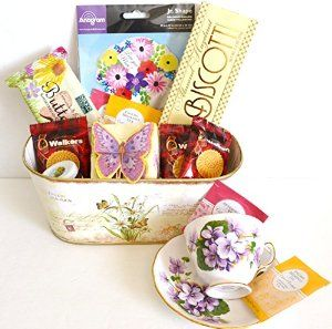 Mother's Day Tea Time Bundle Includes 14 Items -1 Collectible Tea Cup 1 Summer Blooms Container 1 Butterfly Box of Cookies 1 package of Butterfly Shortbread 1 box Biscotti 3 Packages Walkers Shortbread 1 Jar of Honey 4 Tea Bags 1 Mother's Day Balloon
