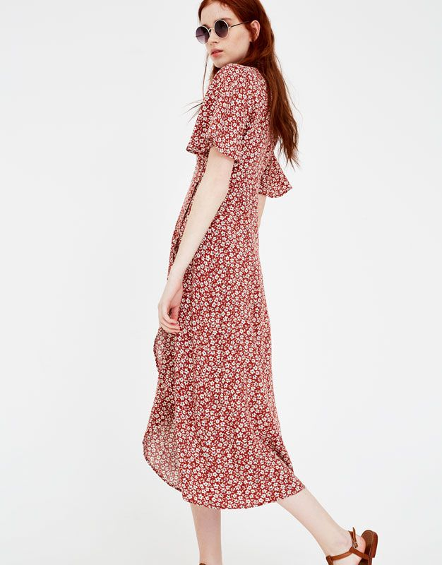 907d84b4 Floral print wrap midi dress - Dresses - Clothing - Woman - PULL&BEAR  United Kingdom Pull