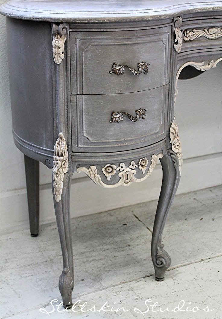 Would look perfect as a bathroom vanity vanity Stiltskin Studios: Weathered Grey French Desk