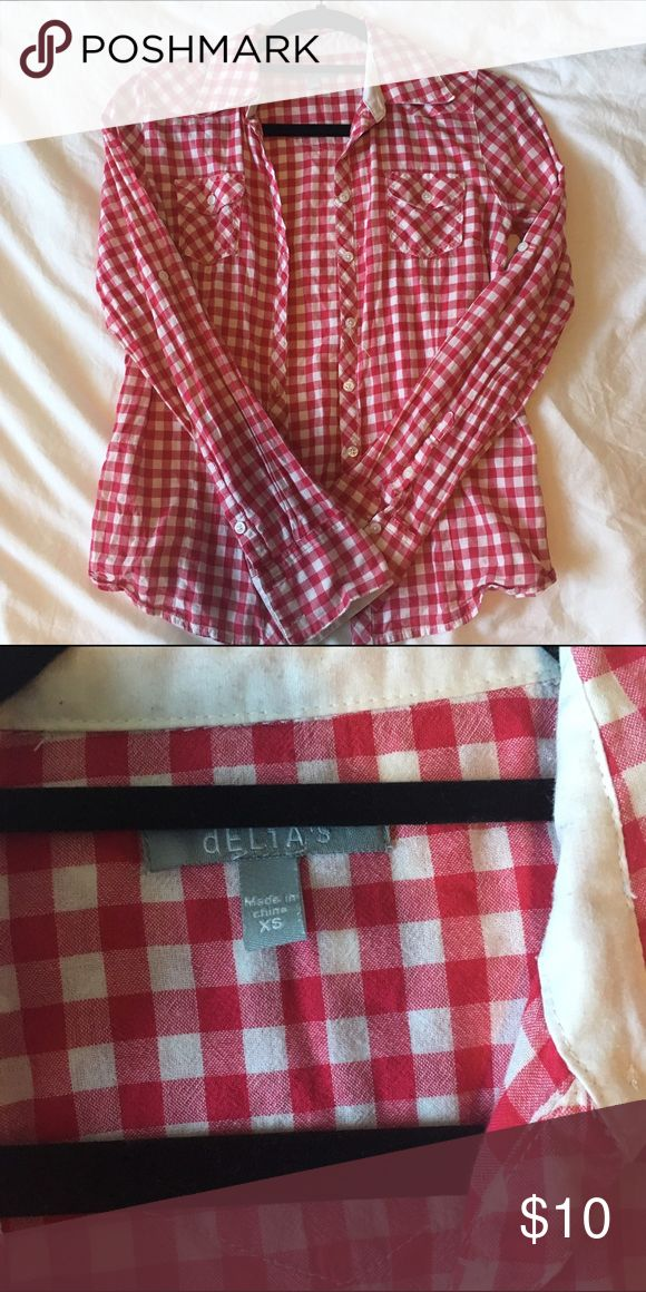 Red Checkered Shirt Super cute Delia's red and white checkered shirt. Delia's Tops Blouses