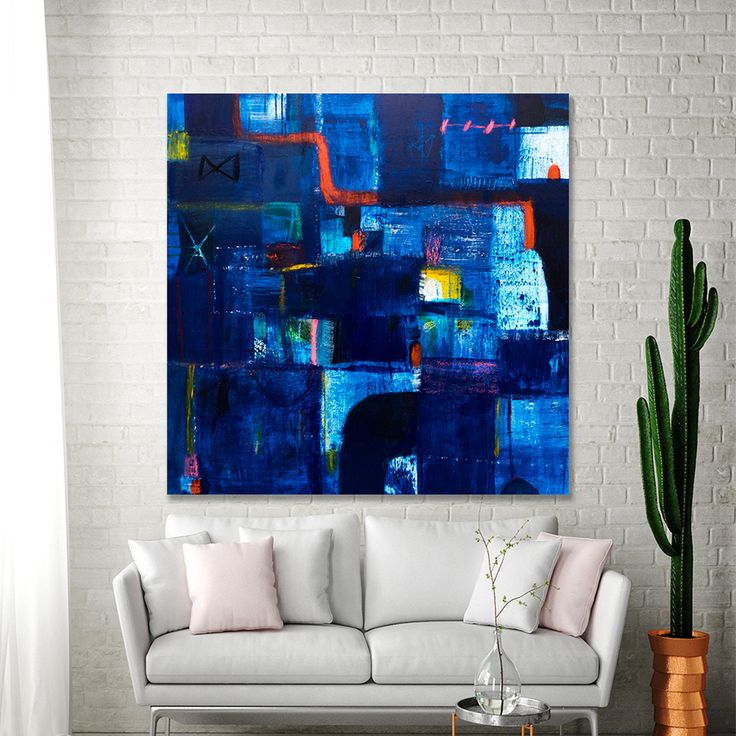 Blue Geometric ABSTRACT PAINTING, Large Canvas painting, 36×36 Modern Contemporary art above couch by Duealberi