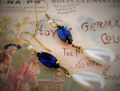 Vintage sapphire-blue glass and faux pearl drops