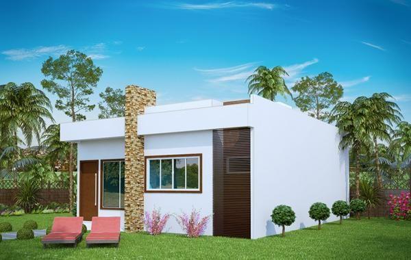 Plano de pequeña casa moderna de tres dormitorios y 69 metros cuadrados