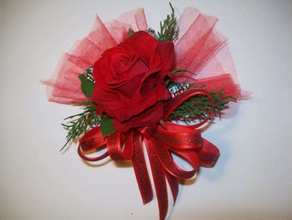 Red Rose Corsage Holiday Corsage by ForeverRememberToday on Etsy