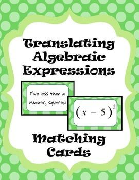 "Free activity ""Translating algebraic expressions"" matching the verbal model to the algebraic expression."