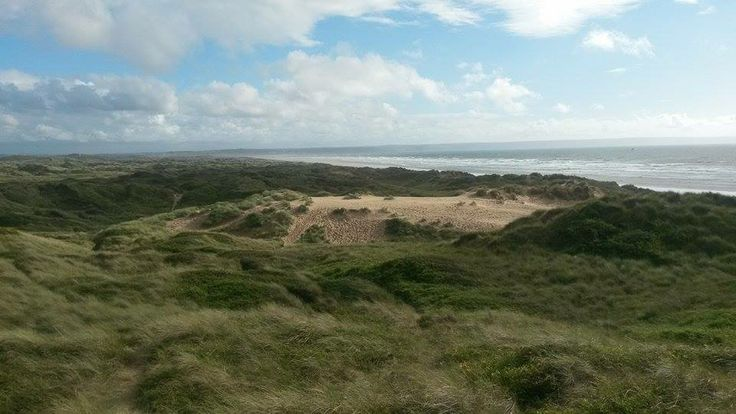 View of Saunton Sands from Braunton Burrows, the largest sand dune system in England and a UNESCO Biosphere Reserve, including many rare plants and animals.