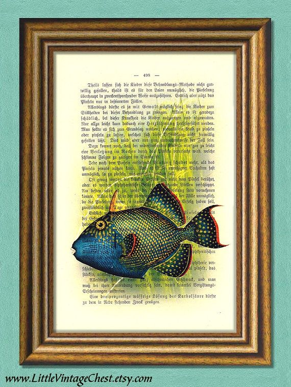 BLUE FISH  Dictionary Art Print Vintage Book by littlevintagechest, $7.99