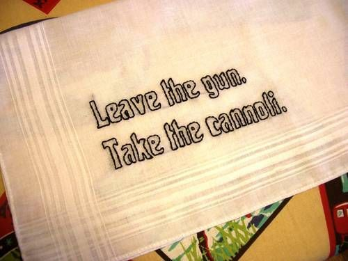 Hanky with embroidered quote from The Godfather