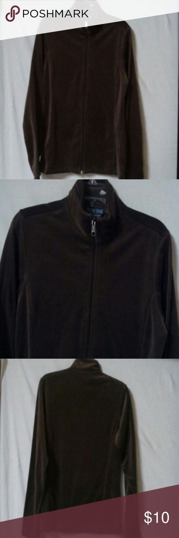 """Pacific trail women size small velour jacket Barely worn, brown, long sleeve, zipper front, polyester, chest 40"""", length 25"""" Pacific Trail Jackets & Coats"""